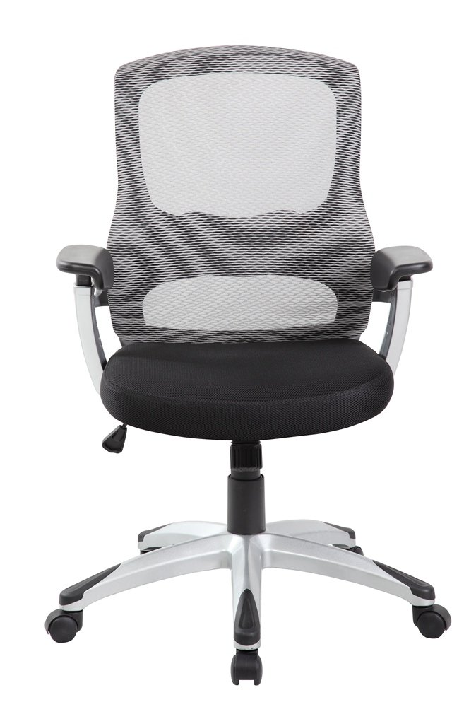 EuroStile Black and White Mid-Back Office Computer Task Mesh Chair 8097 Grey