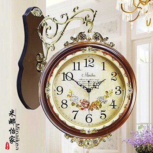 AYYA European retro wall clock retro ultra-quiet solid wooden Korean creative movement clock double quartz clock coffee color movement by AYYA