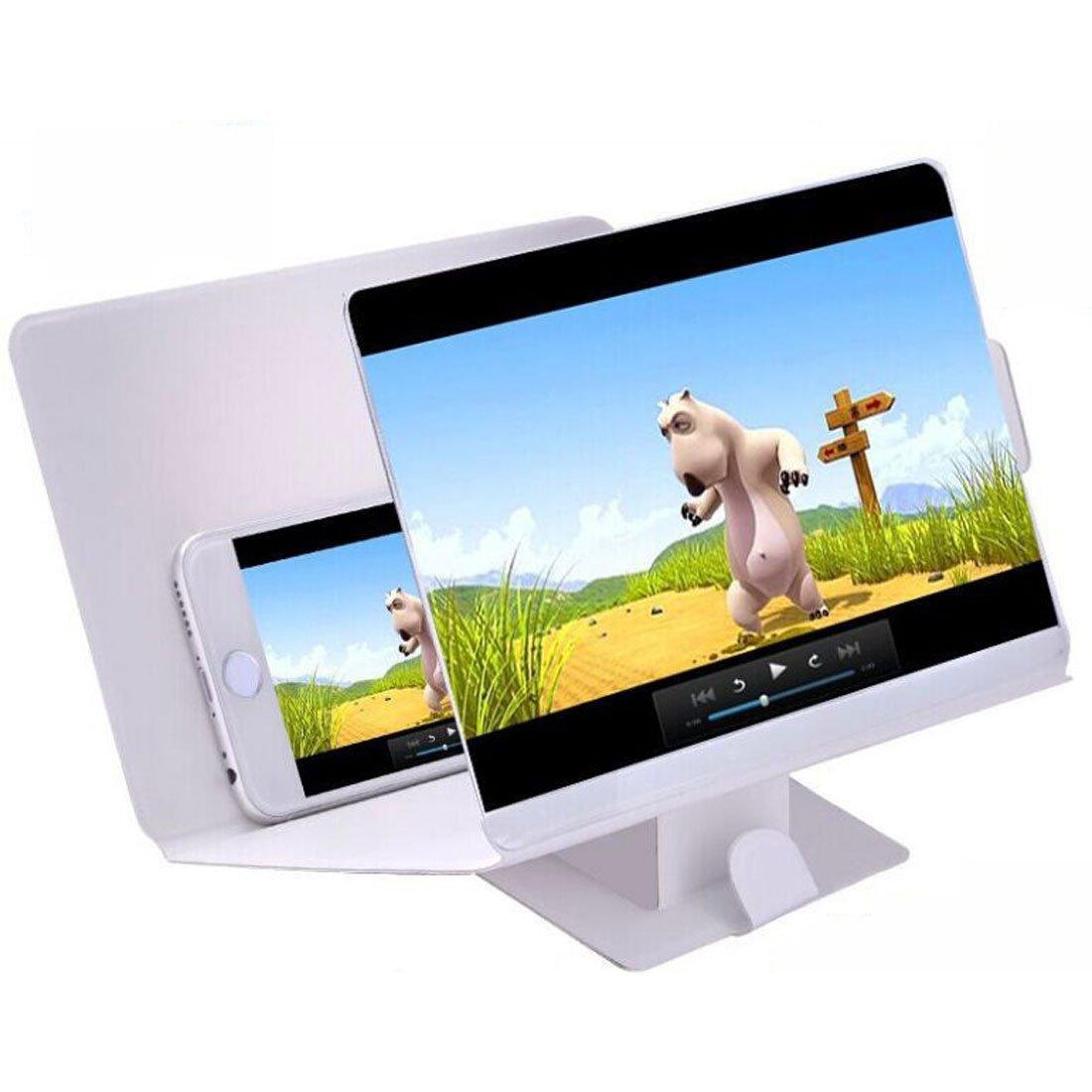 Amazon.com: eDealMax teléfono portátil de pantalla 3D Lupa ampliada Amplificador soporte Blanca: Electronics