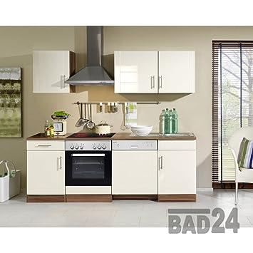 Küchenzeile kaufen 220 nevasto inkl e geräte spülmaschine hochglanz creme nussbaum