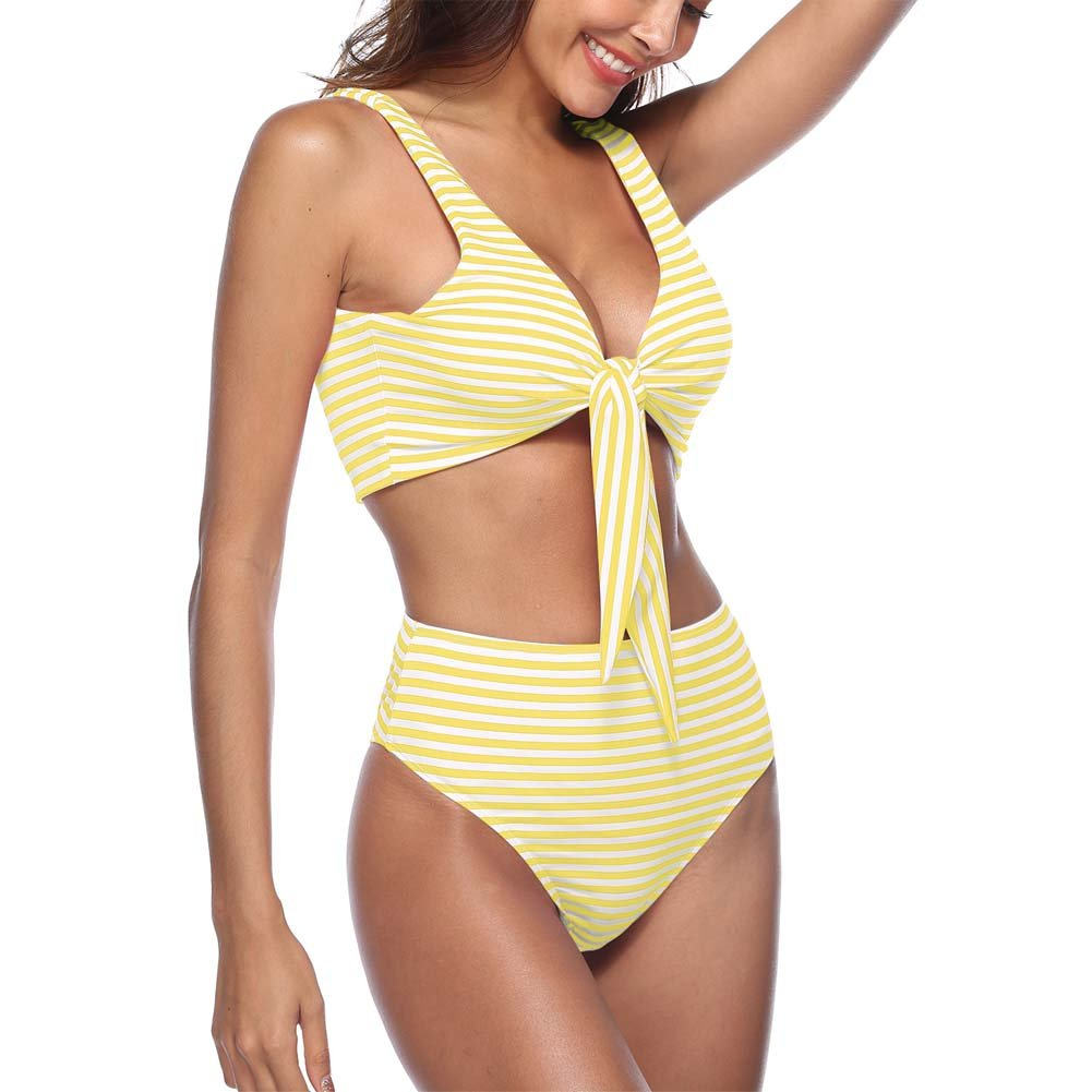 6e0a13f77d29e Womens striped front tie knot bikini high waisted 2PCS swimwear.Soft touch  and comfortable,good elastic,quickly dry,very cute and breathable fabric.