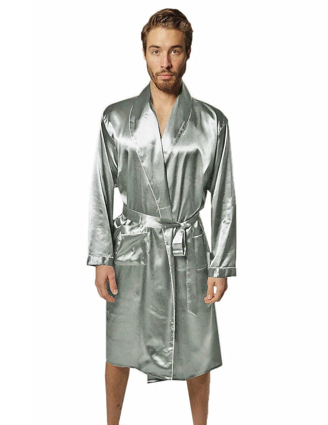 Silk moda mens premium long lounge pajama robe bathrobe light weight summer  silver at amazon mens 72c4fca8c