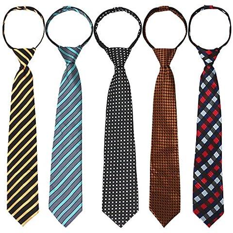 kilofly 5pc Pre-tied Adjustable Zipper Tie Kids Neck Strap Boys Baby Necktie - Kids Necktie