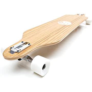 buy White Wave Bamboo Longboard Skateboard