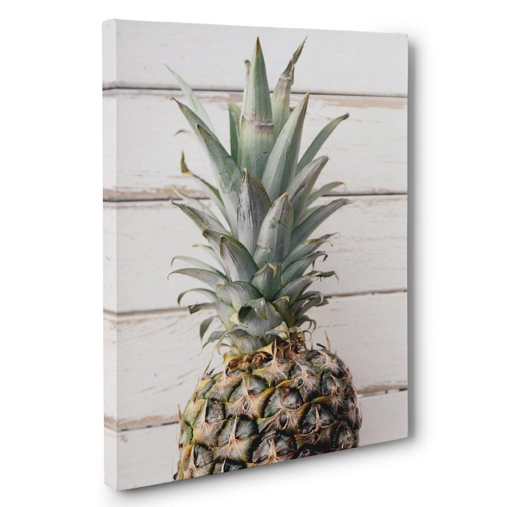 Pineapple Light Wood CANVAS Wall Art Home Décor