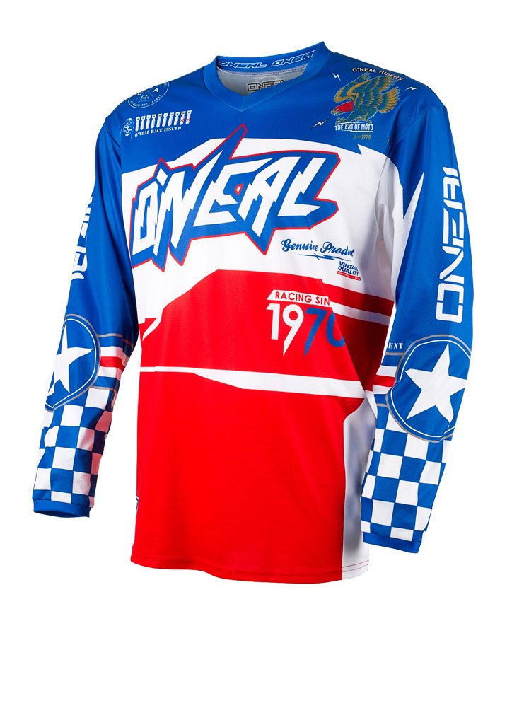 O'Neal Element Afterburner Unisex-Adult Jersey (Blue/Red, Medium)