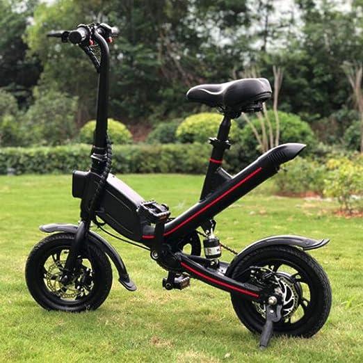 AA100 Bicicleta eléctrica para Adultos, Scooter al Aire Libre portátil y Scooter de Doble Uso/batería de Litio de 48 V, Velocidad máxima de 20 km, Carga 120 kg,Black,14inchwheel: Amazon.es: Hogar