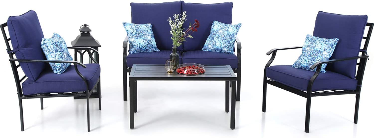 PHI VILLA Metal 4 Piece Outdoor Patio Furniture Padded Conversation Set with 1 Loveseat, 2 Chairs, 1 Coffee Table 4 Free Pillows, Navy Blue