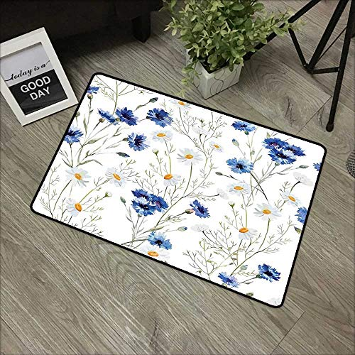 Bathroom Door mat W16 x L24 INCH Watercolor Flower,Wildflowers and Cornflowers Daisies Blooms Flower Buds,Blue Sage Green Marigold Easy to Clean, no Deformation, no Fading Non-Slip Door Mat Carpet