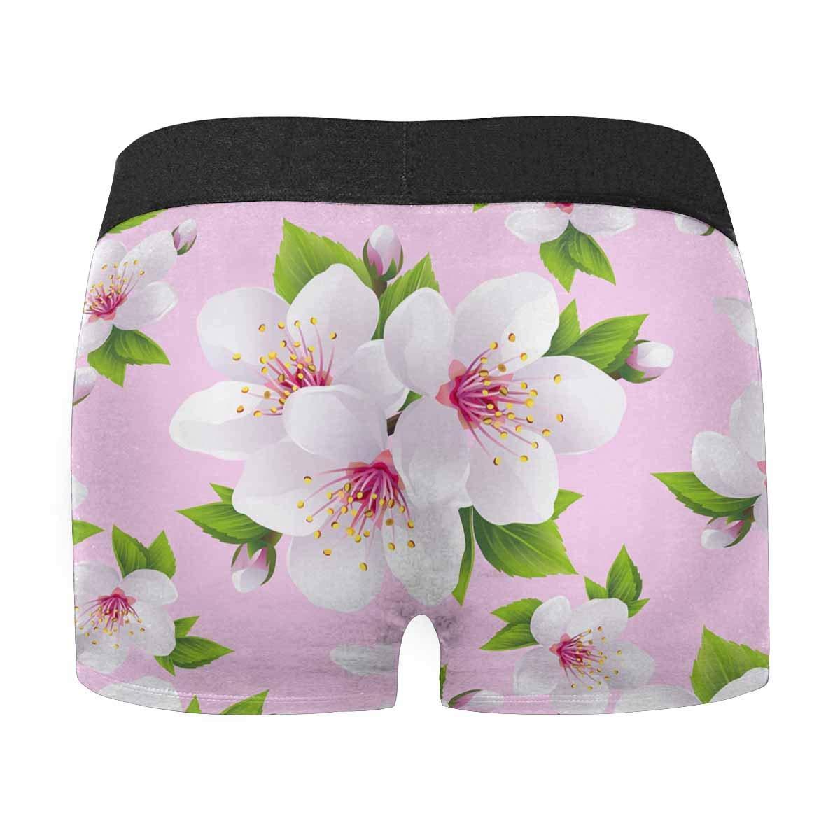 XS-3XL Japanese Cherry Tree INTERESTPRINT Mens Boxer Briefs Underpants White Sakura Blossom
