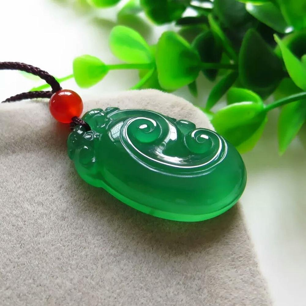 Weiduoli純粋な天然の商品翡翠瑪瑙緑Ruyiペンダント翡翠翡翠ペンダント男性と女性のギフト   B07MD3WY67