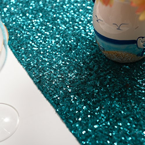 PONY DANCE Premium Quality Glitzy Table Runner Sparking Sequins Table Runner Christmas/Party/Birthday/Wedding/Banquet Decoration,14'' x 108'',(Teal) by PONY DANCE (Image #5)