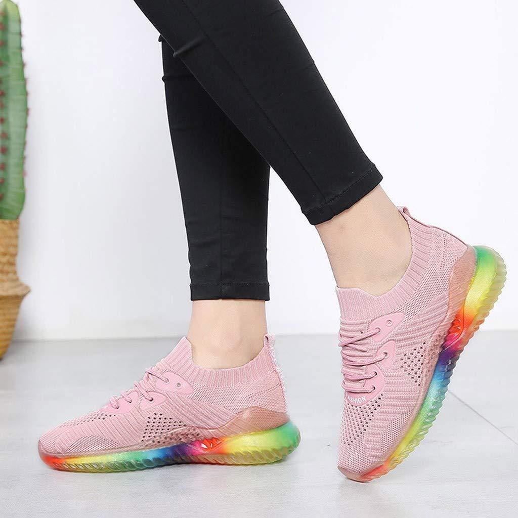 NISOWE Baskets Ext/éRieures Tendance pour Femmes en Gel/éE Arc-en-Ciel Tiss/éEs Chaussures De Sport Respirantes
