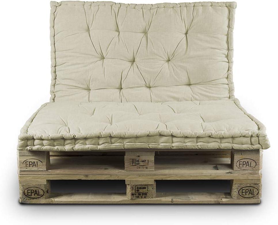 BIANCHERIAWEB Cuscino Mattonella per Seduta-Schienale Divani Pallet Cuscino per Bancale 80x120 Set 2 Pezzi Beige