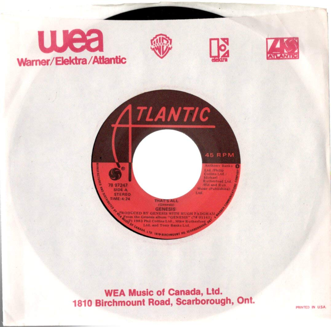 """Genesis: That's All / Second Home By The Sea 7"""" 45 NM Canada Atlantic 78 97247"""