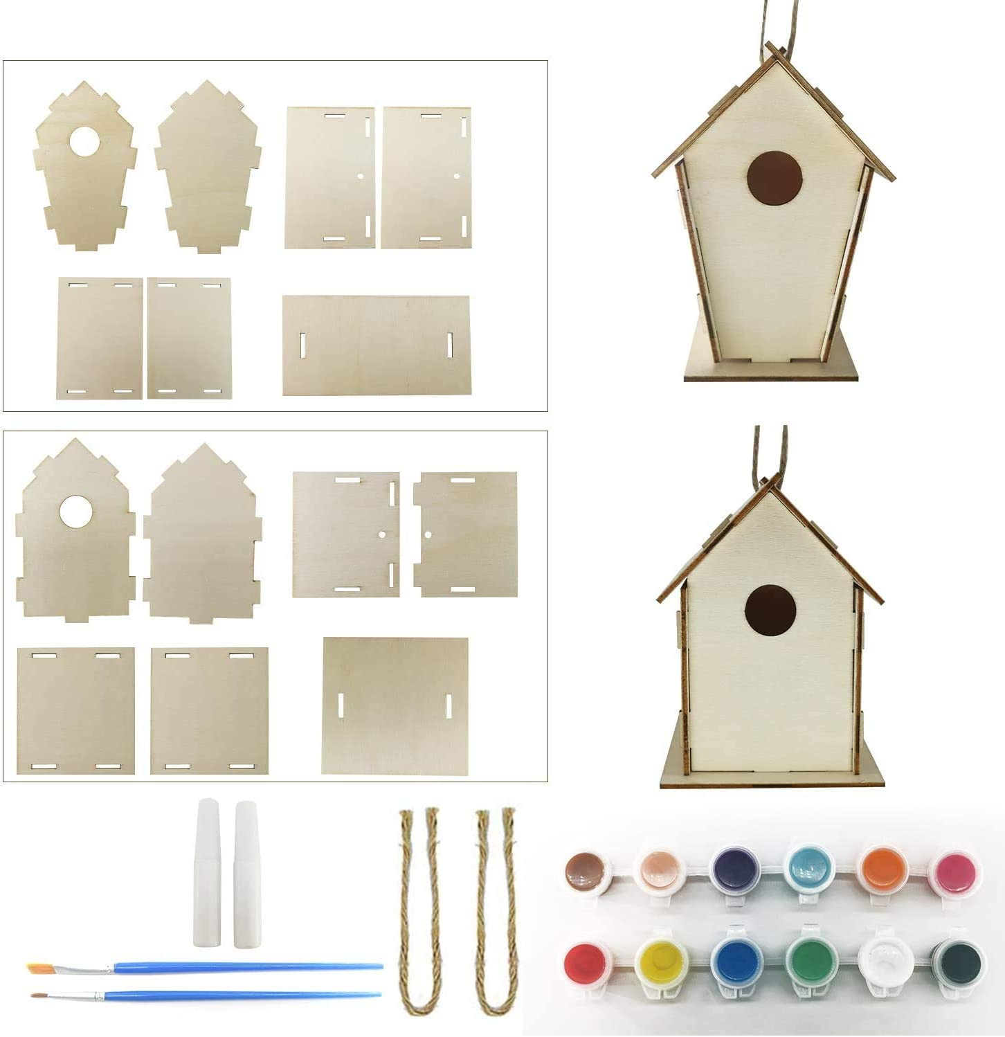 2 Pack DIY Bird House Kit -Easy to Assemble Activity Sets for Children- Design Your Own Wooden Birdhouses Includes Paints /& Brushes Build and Paint Birdhouse FEAYEA Crafts for Kids Ages 4-10