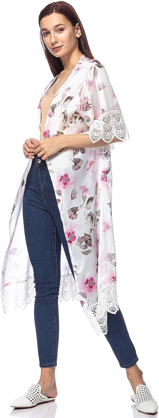 ANNA-KACI Cardigan Kimono Lungo in Pizzo Ricamato da Donna Mezze Maniche