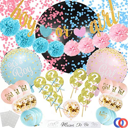 Funnlot Gender Reveal Party Supplies 53PCS Baby GenderRevealDecorations with Reveal Gender Balloon Banner Cake Topper Mom To Be Sash Gender Reveal Party Favors for Deluxe Baby Shower Boy or Girl Kit ()