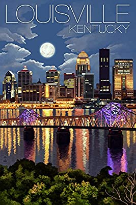 Louisville, Kentucky - Skyline at Night (9x12 Collectible Art Print, Wall Decor Travel Poster)
