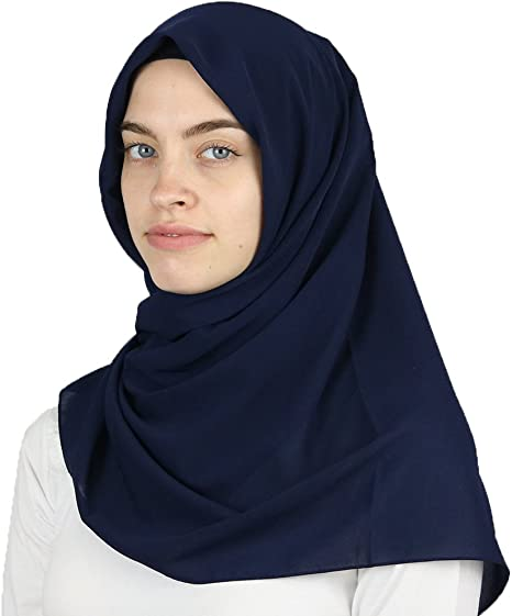 Islamic Women/'s Turkish Medine Square Chiffon Hijab Scarf White