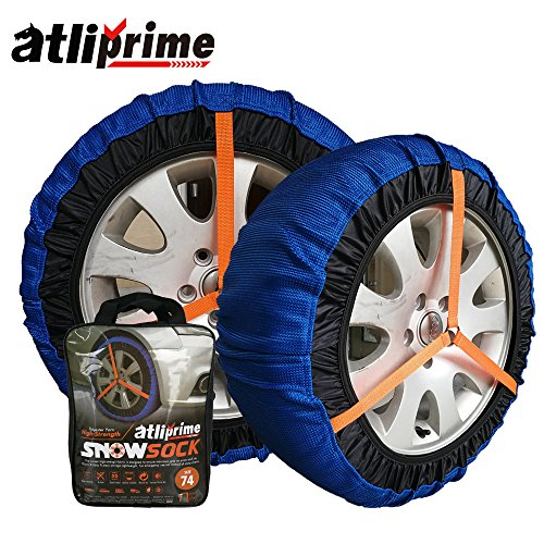 atliprime 2pcs Anti-Skid Safety Ice Mud Tires Snow Chains Auto Snow Chains Fabric Tire Chains Auto Snow Sock on Ice and Snowy Road (AT-SB79)