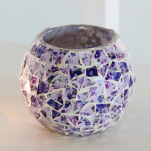 KOBWA Romantic Candle Holder Purple Mosaic Glass Bowl Candle Holder for Home Decoration Wedding Party Gift