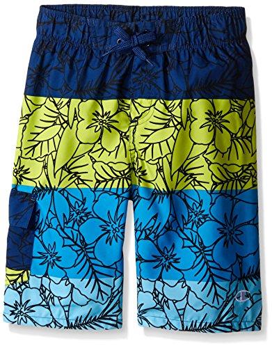 - Champion Big Boys Hibiscus Print Swim Short, Green/Blue, Small
