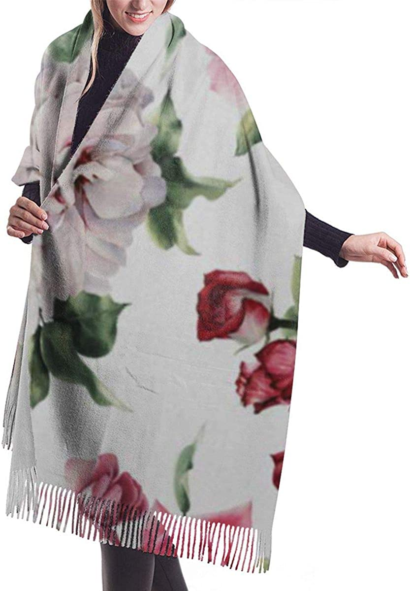 Soft Cashmere Scarf For Women Fashion Lady Shawls,Comfortable Warm Winter Scarfs Colorful Flower Floral Pattern Roses Watercolor Green Bouquet Peony