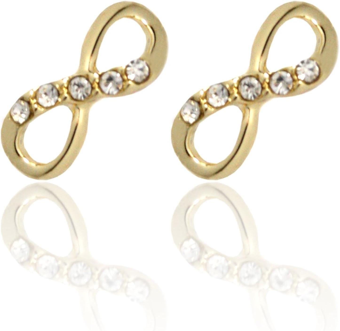 2livefor Pendientes infinity lazo bañada y chapado en oro pendientes brillantes plata circonita Pendientes Infinito pequeño