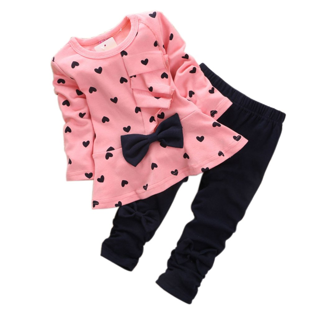 M RACLE Cute Little Girls' 2 Pieces Long Sleeve Top Pants Leggings Clothes Set Outfit (2-3 Years, Heart Pink)