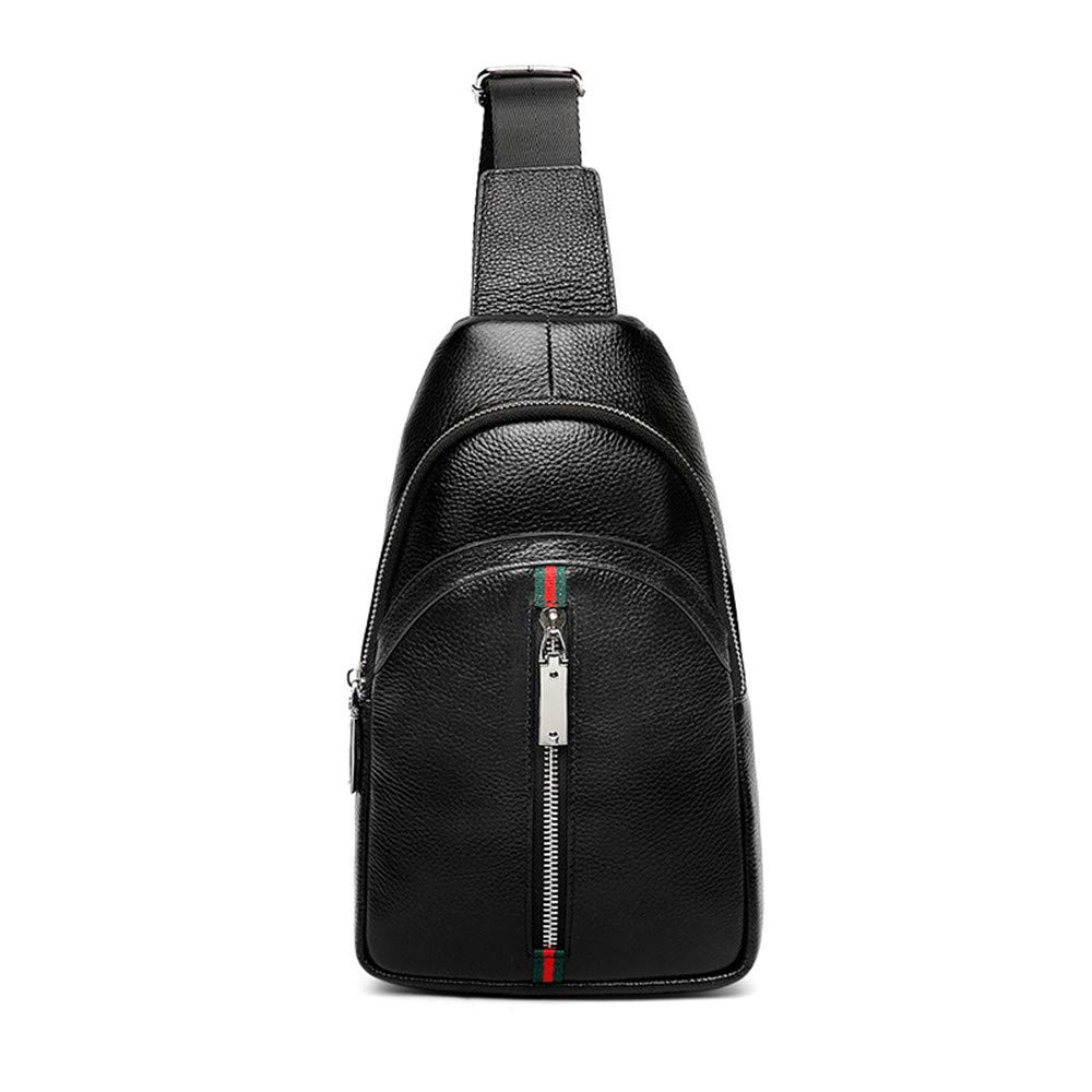 FeliciaJuan Men Small Chest Bag Leather Sling Bag Crossbody Bags Outdoor Single Shoulder Backpack Causal Daypacks for Hiking Cycling Travel Color : Black