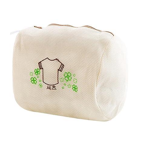 OUNONA Bolsa de lavado de malla de doble capa con cremallera para ropa sucia delicada,