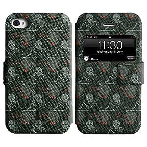 LEOCASE Cráneo y esqueletos Funda Carcasa Cuero Tapa Case Para Apple iPhone 4 / 4S No.1001967