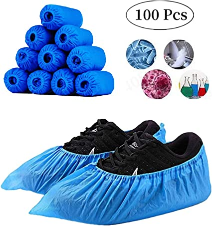 100PCS Disposable Plastic Anti Slip Shoe Covers PE Cleaning Overshoes Protective