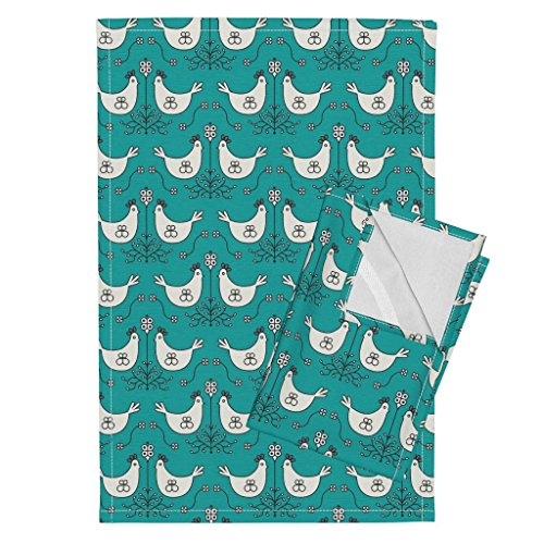 Chicken Hen Egg Nest Roost Turquoise Holli Tea Towels Farmouse_Roost_Aqua by Holli Zollinger Set of 2 Linen Cotton Tea Towels