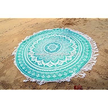 Ombre Round Mandala Tassel Fringing Beach Throw Roundie Yoga Mat Table Cloth Hippy Hippie Boho Gypsy Beach Towel wall hanging