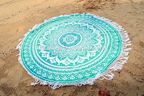 Ombre Round Mandala Tassel Fringing Beach Throw Roundie Yoga Mat Table Cloth Hippy Hippie Boho Gypsy Beach Towel wall - Towel Circle