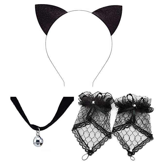 Amazon.com: Pop Your Dream Helloween Cosplay Costume Set with Cat Ears Headband Lace Glove Bell Necklace Set: Clothing