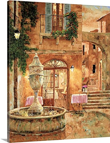Gilles Archambault Gallery-Wrapped Canvas entitled Evening at the Fountain by greatBIGcanvas