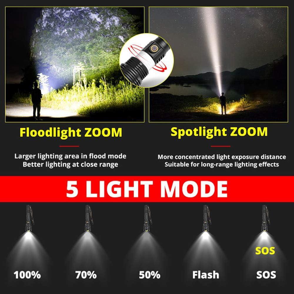 YHML Glare Flashlight Led Aluminum Alloy Waterproof Zoom Camping Flashlight USB Rechargeable Flashlight Battery Flash Package G