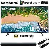 Samsung UN55NU7300 55' NU7300 Curved Smart 4K UHD TV (2018) with Sharper Image Sound Bar Bundle
