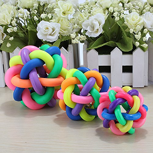 TOOGOO(R) Dog Puppy Pet Rainbow Colorful Rubber Bell Sound Ball Fun Playing Toy