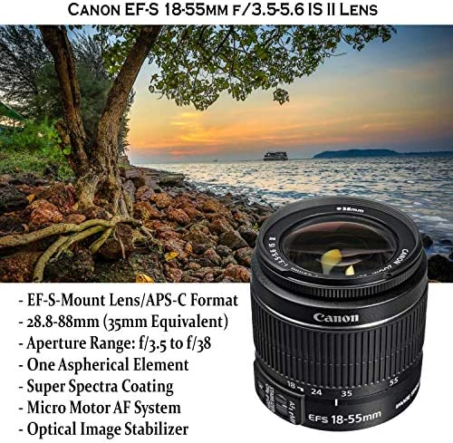 Canon EOS Rebel T7 DSLR Camera with 18-55mm is II Lens Bundle + Canon EF 75-300mm f/4-5.6 III Lens and 500mm Preset Lens + 32GB Memory + Filters + Monopod + Professional Bundle (Renewed) 61SSMPewyKL