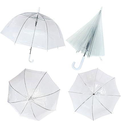 Tutoy Grande Blanco Plástico Transparente Cúpula Largo Paraguas De Acero PVC De Mango Transparente Caminar Lluvioso