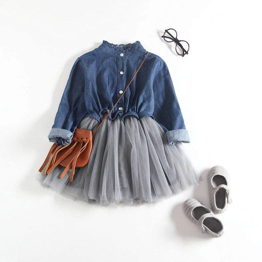 Feixiang Vestido de niña Bebé recién Nacido Ropa de niña Denim Plisado Camisetas de Manga Larga Blusa Vestido de tutú de Manga Larga Vestido de Fiesta: ...