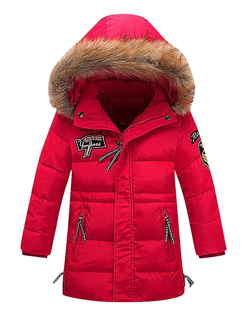 Sweety Kids Quilted Zip Up Solid Color Down Winter Jacket With Fur Lined Hood