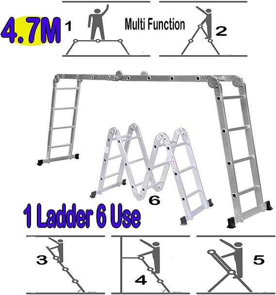 Home Office - Escalera telescópica plegable de aluminio, 4,7 m, extensible, marco multifunción, con bandeja de herramientas certificada EN 131: Amazon.es: Oficina y papelería