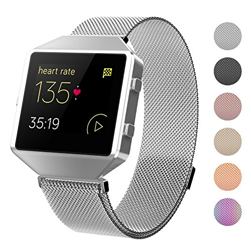 Fitbit Blaze Bands With New Metal Frame,Crodi Stainless Steel Magnetic Milanese Replacement Band for Fitbit Blaze Women Men Sliver - Metal Steel New