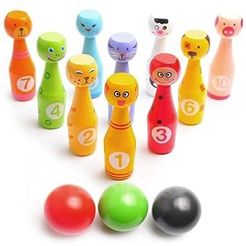 juego de bolos de madera para nios animales educativos juguetes botellas