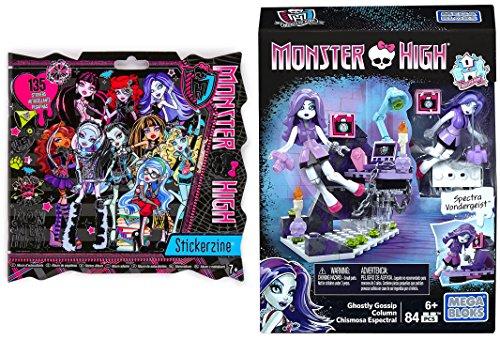 Monster High Fun Bundle Mega Construx Spectra Vondergeist Ghostly Gossip Column Building Kit + Stickerzine Stickers